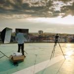 Příprava natáčení na heliportu
