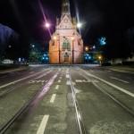 Červený kostel v Brně v noci