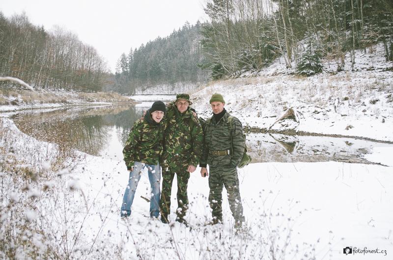 Všichni tři v zátoce Opatovické přehrady