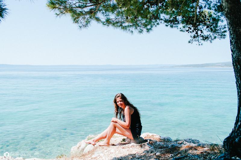 Klára na skále v Chorvatsku