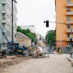 Rozkopaná ulice Milady Horákové a Merhautova