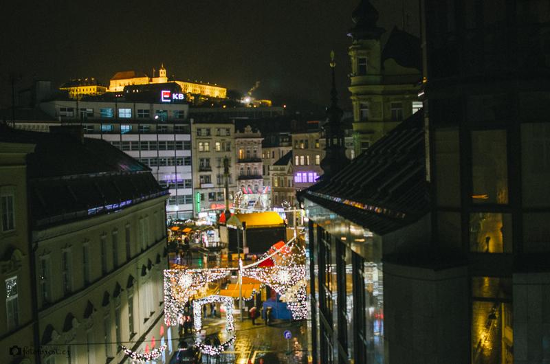 Výhled na Špilberk a náměstí Svobody