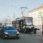 Vykolejená tramvaj, šalina v Brně