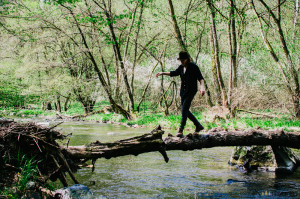 Na kládě nad řekou