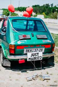 Just married na autě
