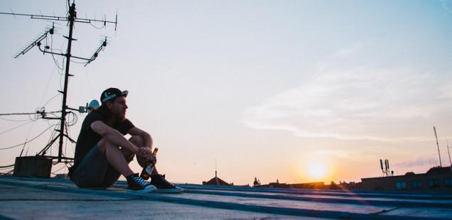 Západ slunce na střeše