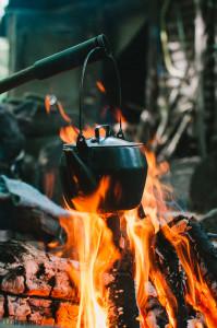 Konvička na kávu na ohni