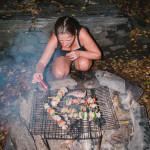 Noční vaření v lese