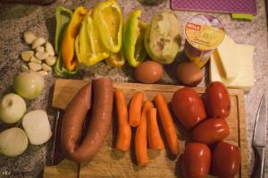 Zapečená zelenina s těstovinami