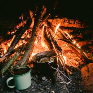 Káva a snídaně na ohni