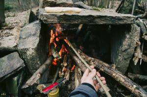 Klobáska na ohni