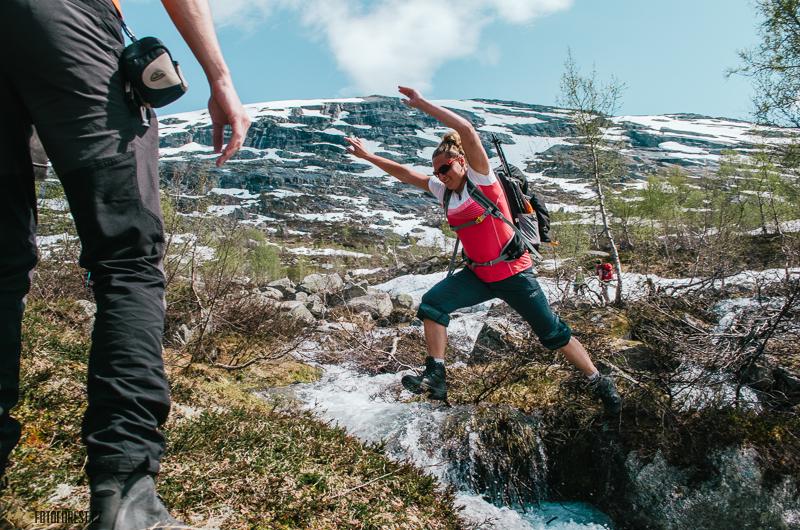 Přechod řeky v Norsku