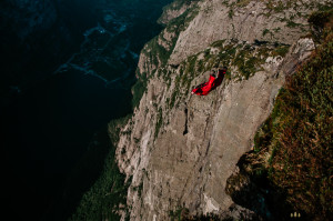 Base jump with wingsuit off Kjerag